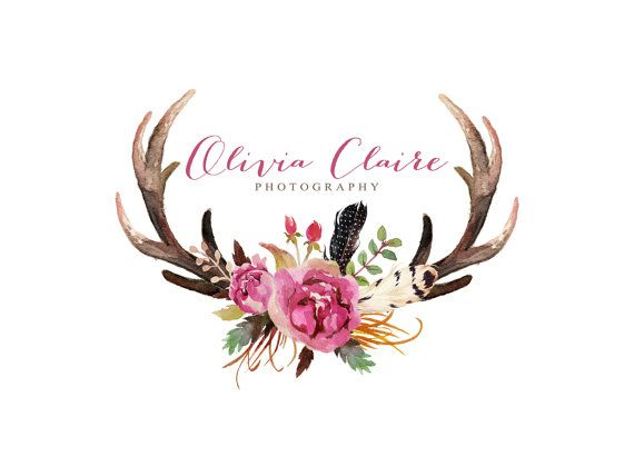 Antlers and flowers clipart