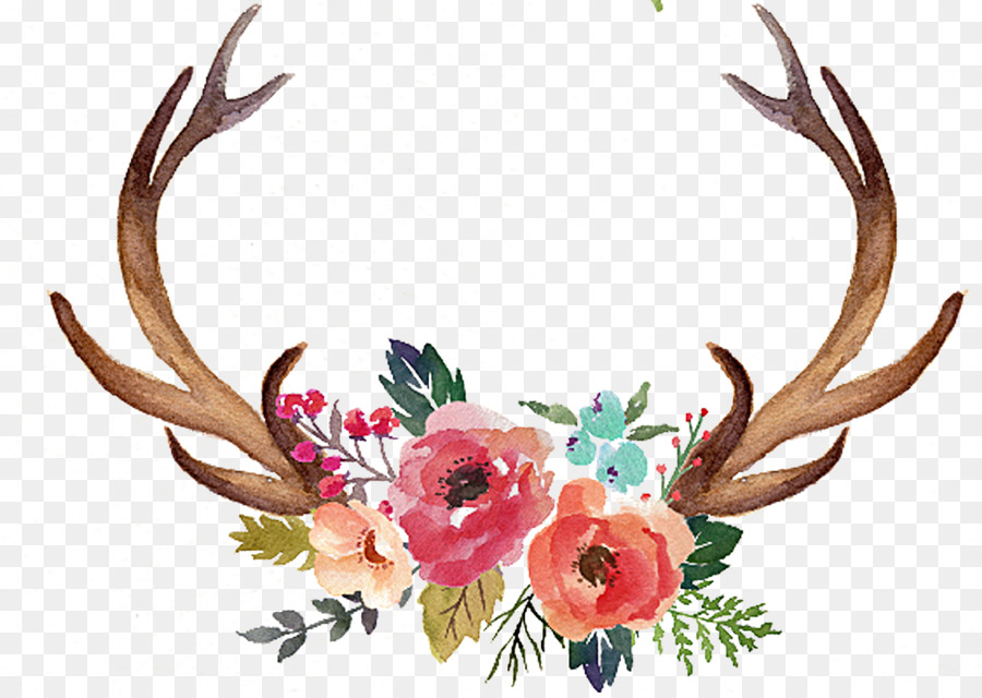 Antler floral clipart jpg stock Watercolor Floral Background png download - 1145*808 - Free ... jpg stock