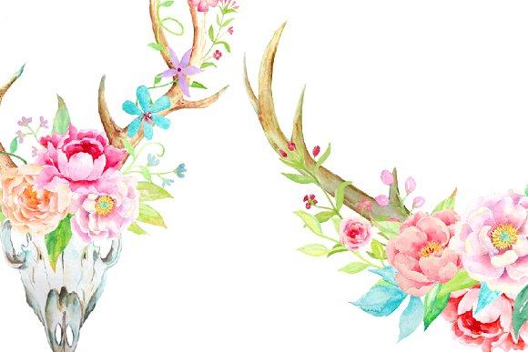 Antler floral clipart vector freeuse download Waterolor Boho Antlers Floral Antler vector freeuse download