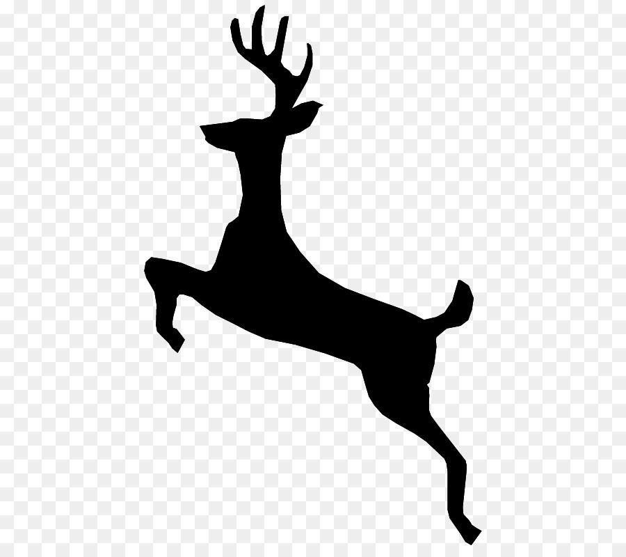 Antlered deer jumping clipart free