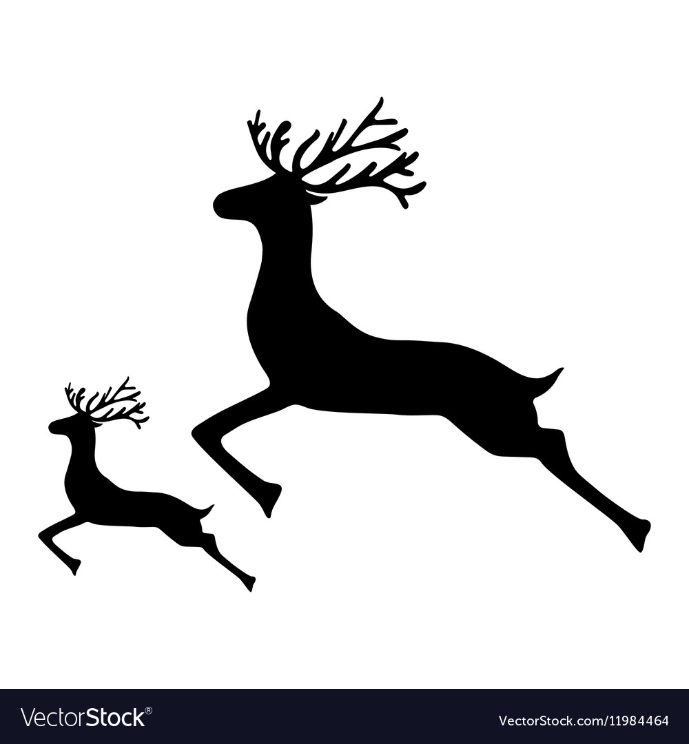 Antlered deer jumping clipart free png free download Adult Reindeer and baby deer jumping on a white png free download