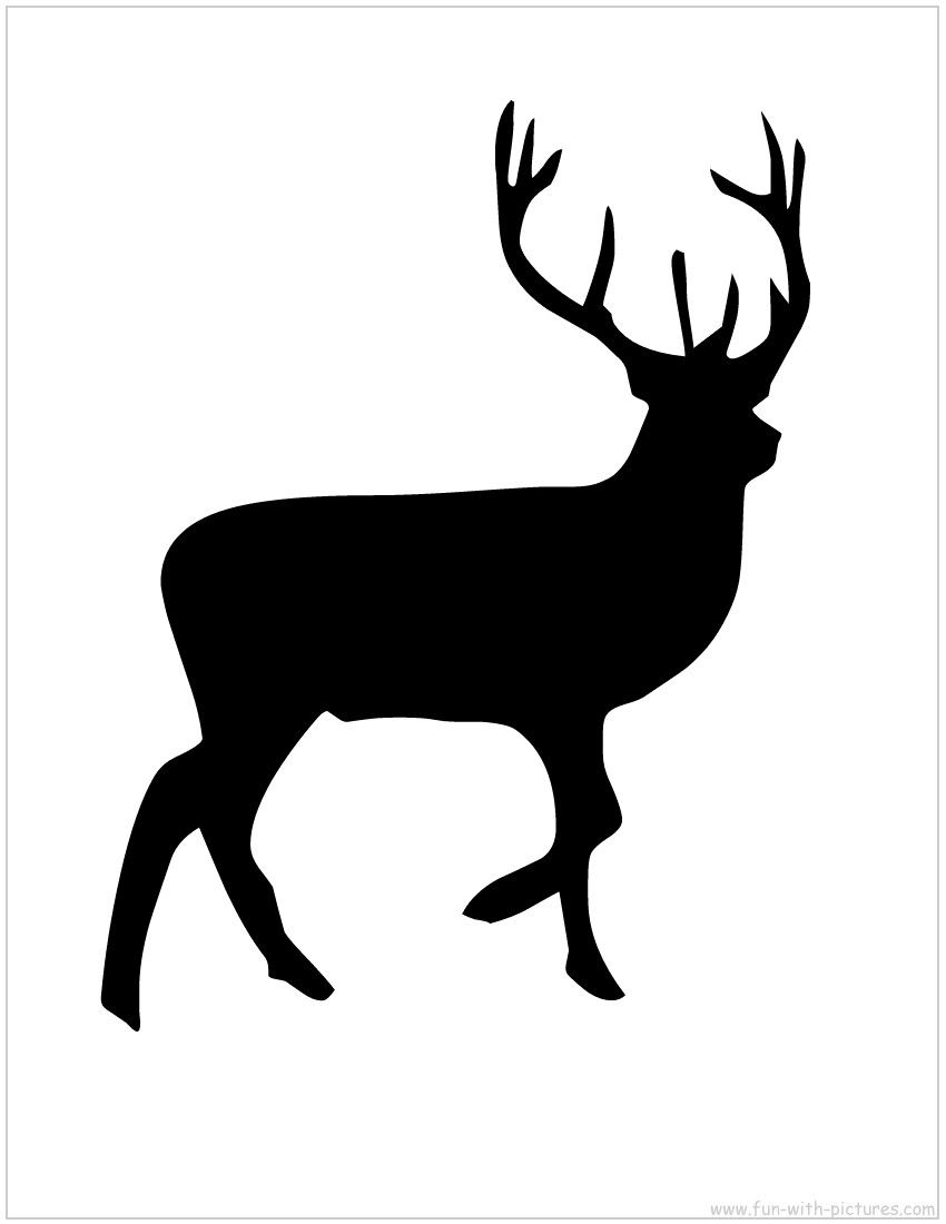 Antlered deer jumping clipart free clip black and white Reindeer Silhouette Free Printable | DIY Projects / Print ME ... clip black and white