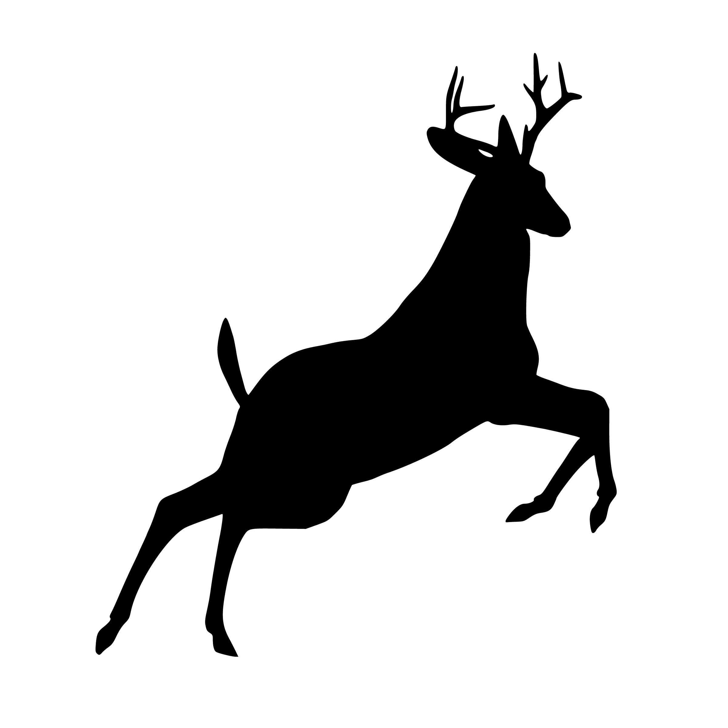 Antlered deer jumping clipart free jpg black and white Free Images : deer, jumping, silhouette, leaping, wildlife, reindeer ... jpg black and white