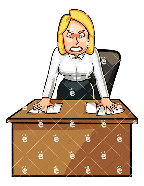 Anxiety and anger clipart clip art free Angry Business Woman Standing Angrily Behind Her Desk | Caucasian ... clip art free