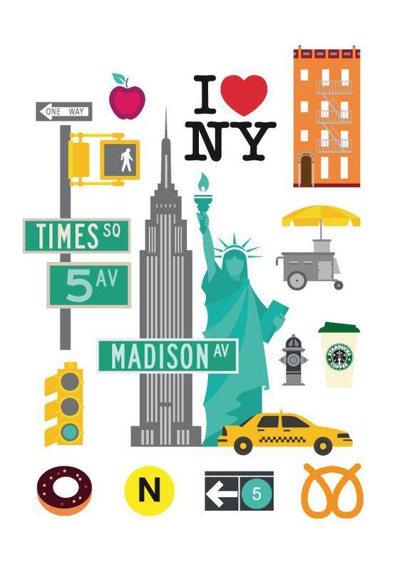 A+-o nuevo 2019 clipart clip library New York City stickers.   New York City in 2019   Nyc art, New york ... clip library