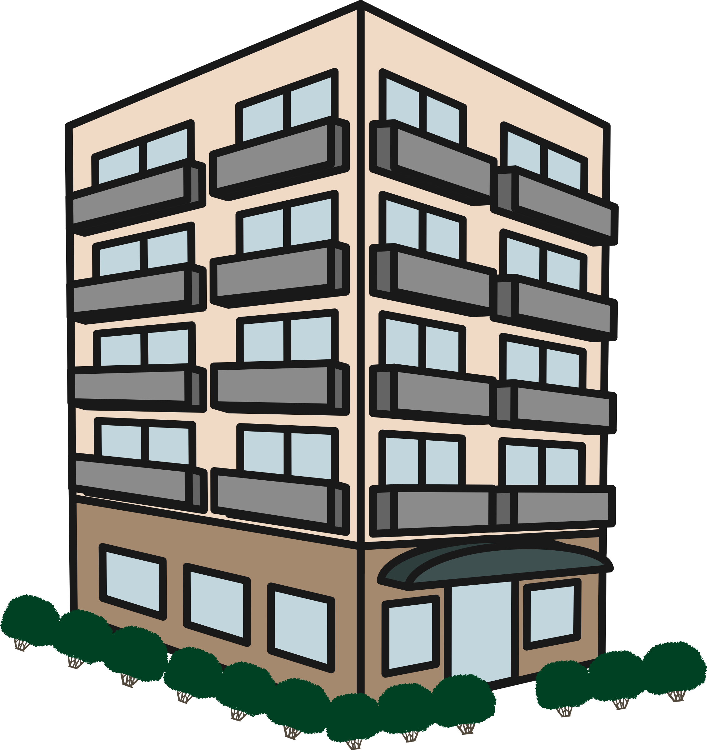 Apartment block clipart vector freeuse Apartment Building Clipart | Free download best Apartment Building ... vector freeuse