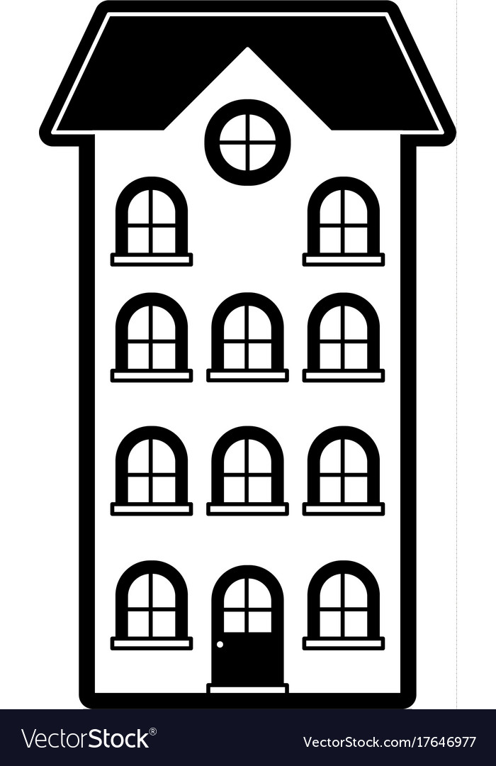 Apartment clipart many floors clip library download Building apartment of four floors black silhouette clip library download