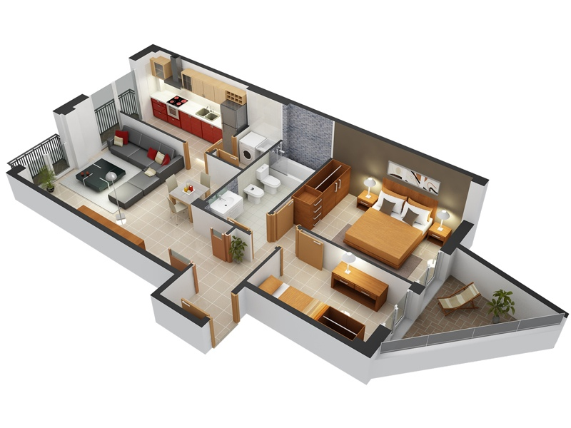 Apartment clipart two bedroom clip download Two Bedroom Apartment with Unique Balcony   Interior Design Ideas. clip download