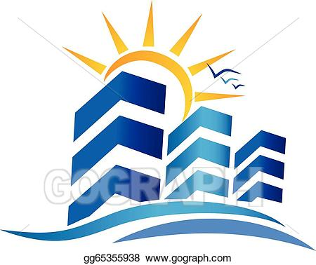 Apartments com logo clipart graphic Vector Stock - Apartments and sun real estate logo. Clipart ... graphic