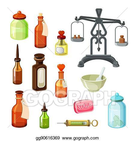 Apothecary bottle clipart vector free Vector Illustration - Apothecary vector set. vintage medicine ... vector free