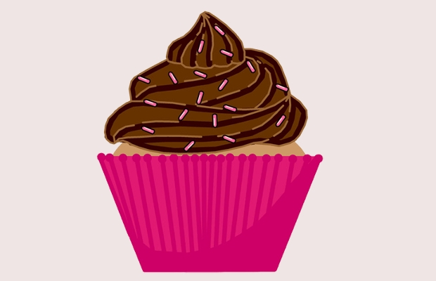 Appealing chocolate cupcake clipart