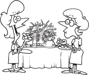Appetizer buffet clipart clip art library library Black and White Coloring Page of Two Women Eating Appetizers - Clipart clip art library library
