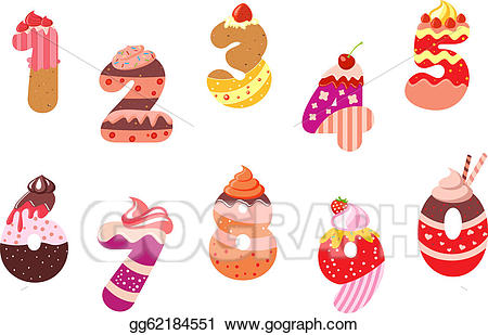 Appetizing clipart png download EPS Illustration - Appetizing bakery numbers and digits. Vector ... png download