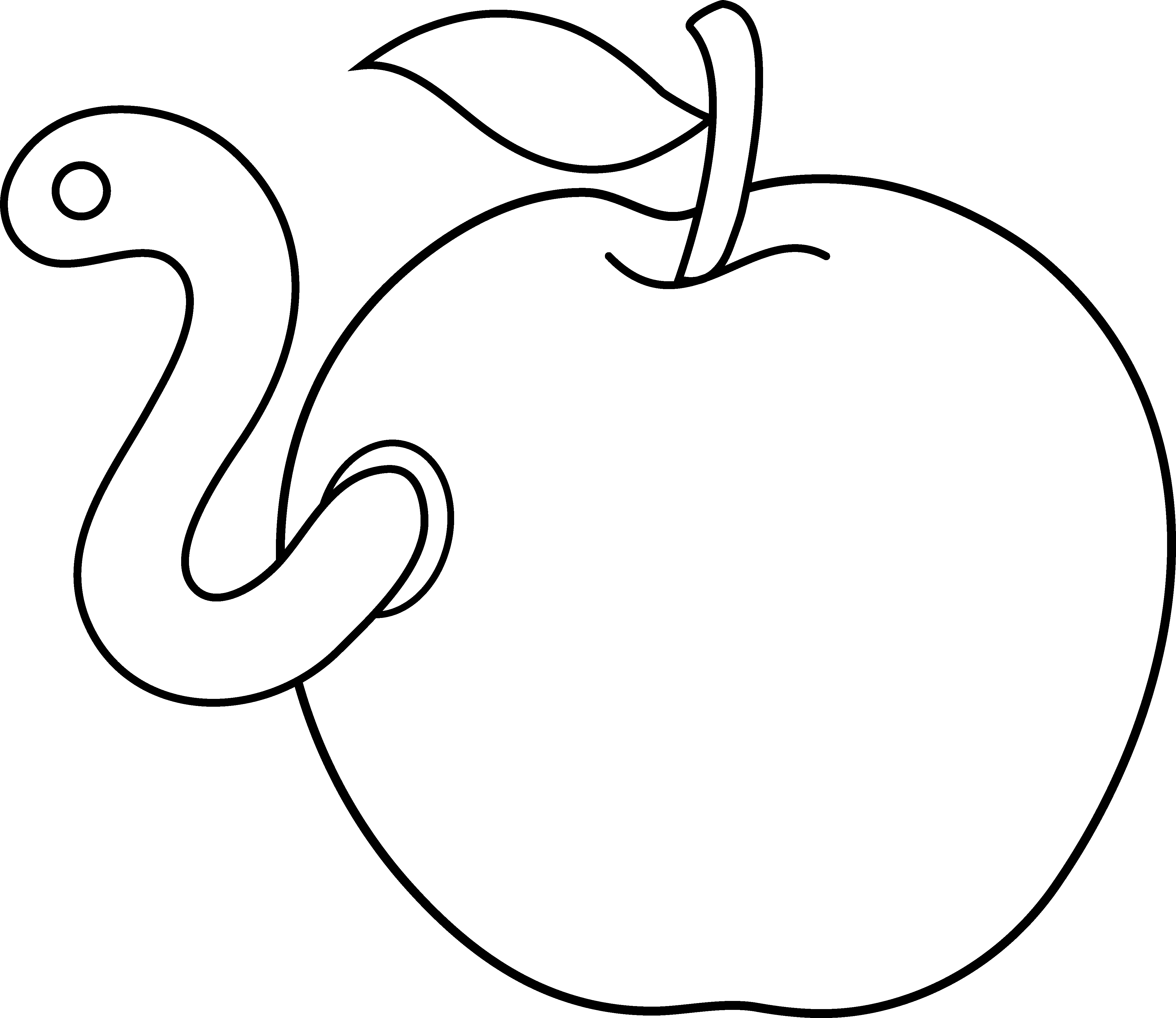 Apple core clipart black and white free graphic freeuse stock Worm in Apple Coloring Page - Free Clip Art graphic freeuse stock