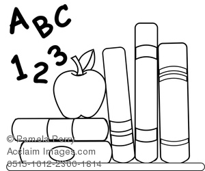 Apple and book clipart black and white clipart freeuse Clip Art Image of School Books With an Apple for Teacher Coloring Page clipart freeuse