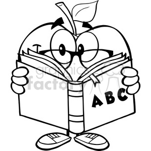 Apple and book clipart black and white graphic free library 5956 Royalty Free Clip Art Smiling Apple Teacher Character Reading A Book  clipart. Royalty-free clipart # 389065 graphic free library