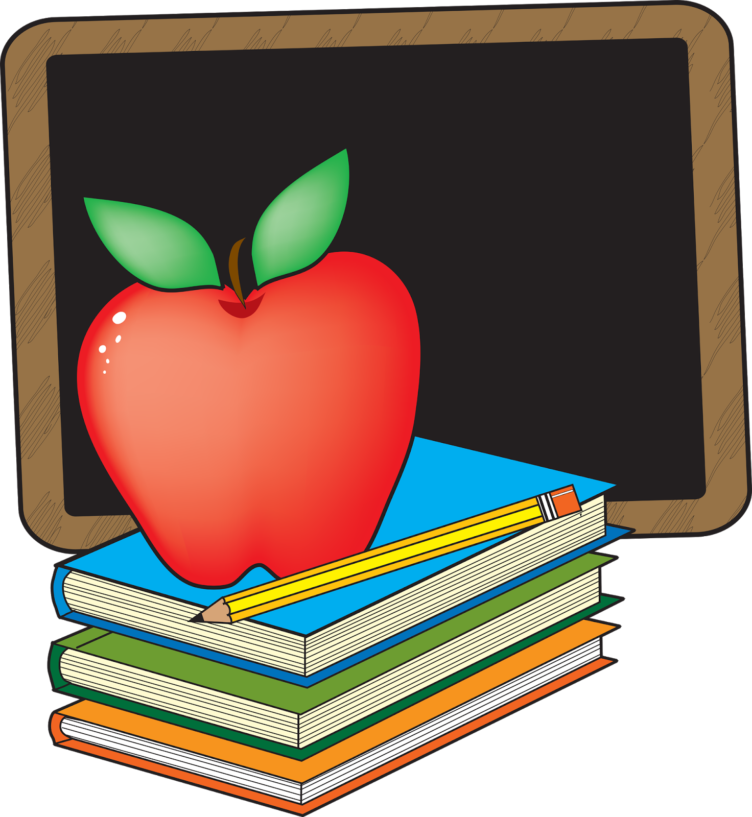 Apple on books clipart image black and white stock Our Virtual English Classroom: Dream School image black and white stock