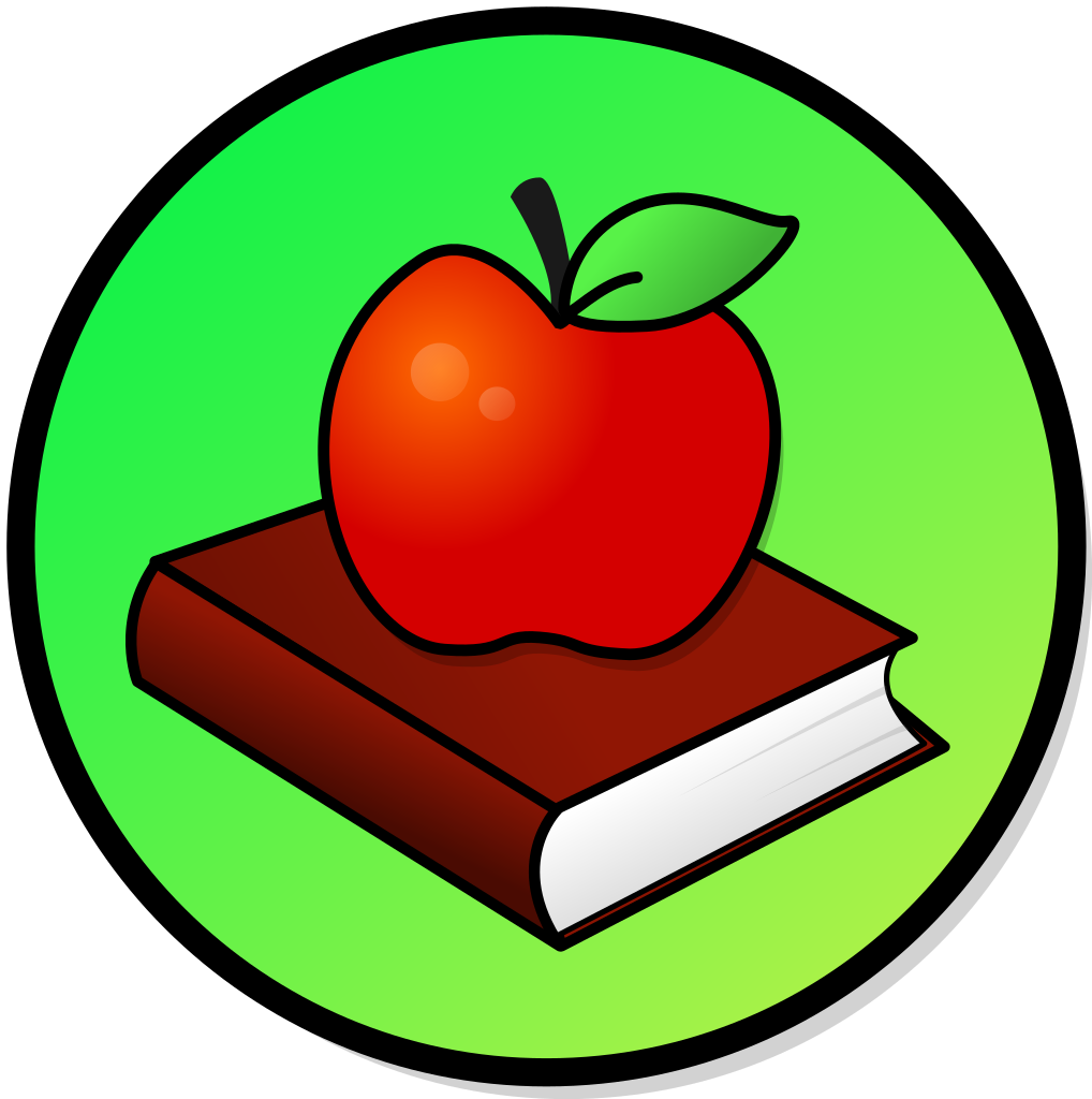 Apple on books clipart graphic library File:Apple-book.svg - Wikimedia Commons graphic library