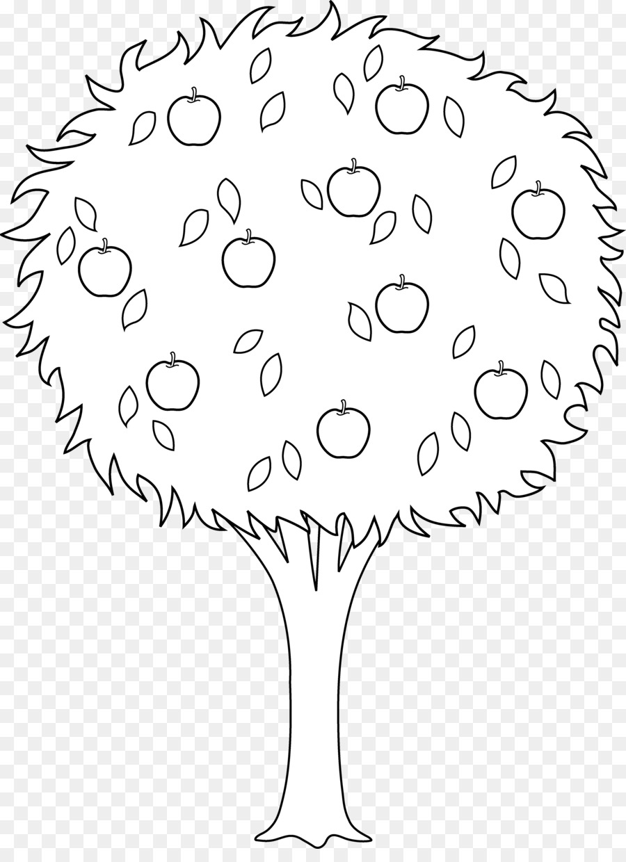 Apple and orange tree clipart svg free stock Book Black And White clipart - Tree, Apple, Flower, transparent clip art svg free stock