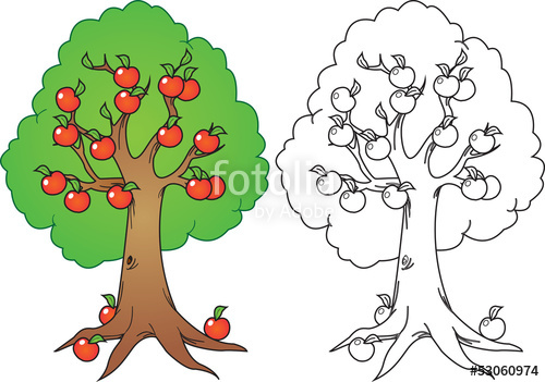 Apple and orange tree clipart png free stock cartoon apple tree in color and black n white version\