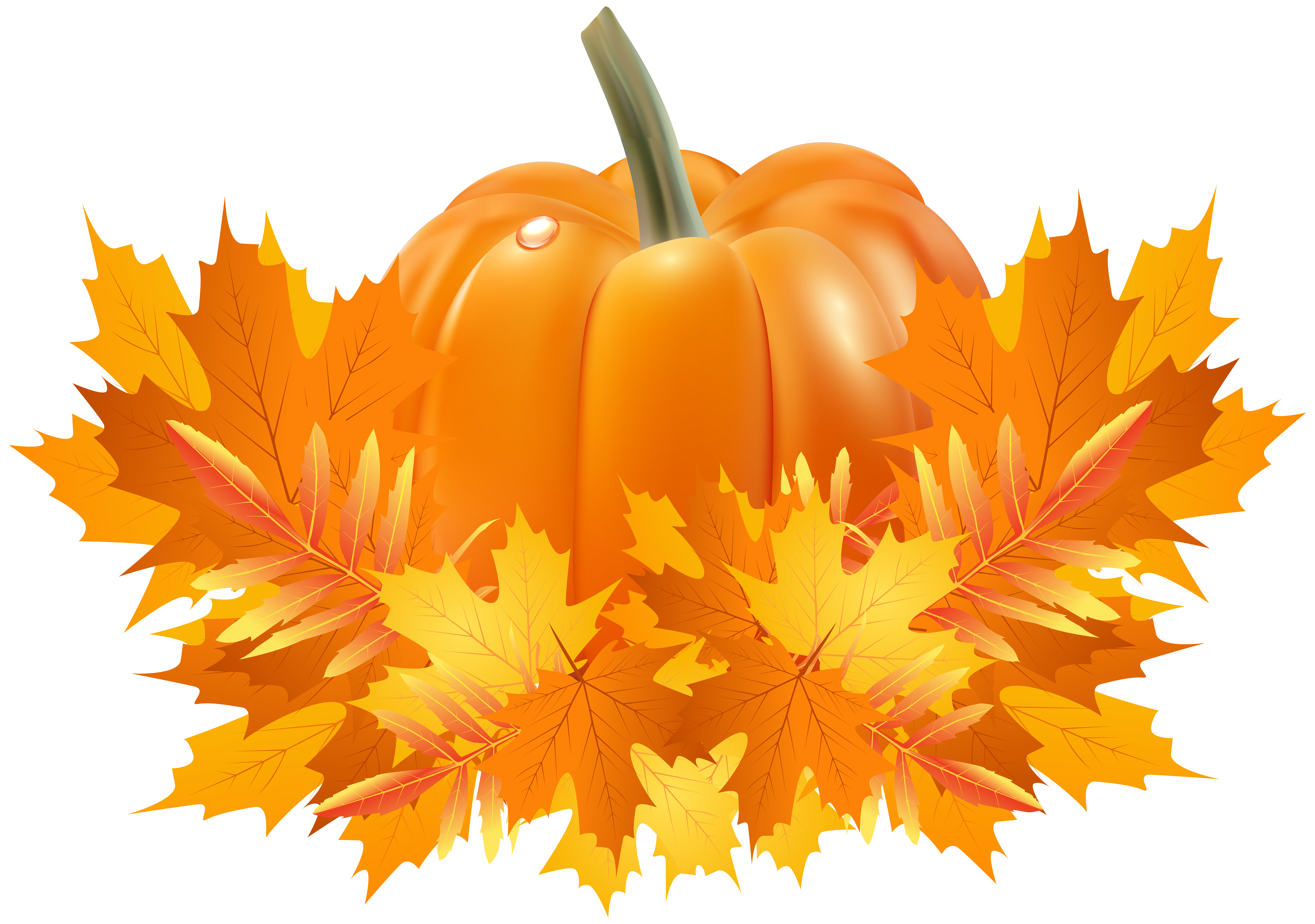 Fall Leaves and Pumpkin Decoration PNG Clip Art | Gallery ... jpg freeuse stock
