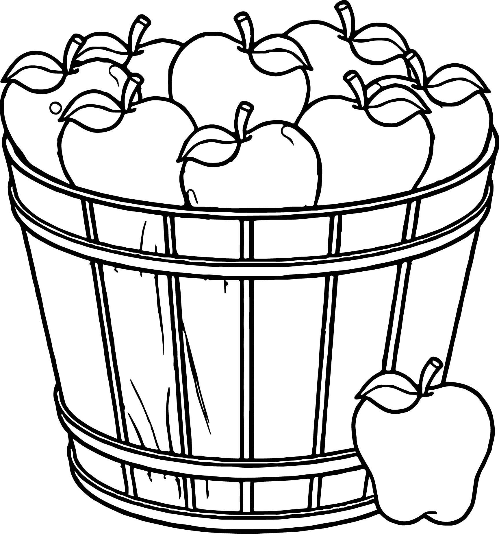 Apple basket clipart coloring page svg transparent library cool Apple Basket Coloring Page | wecoloringpage | Fruit coloring ... svg transparent library
