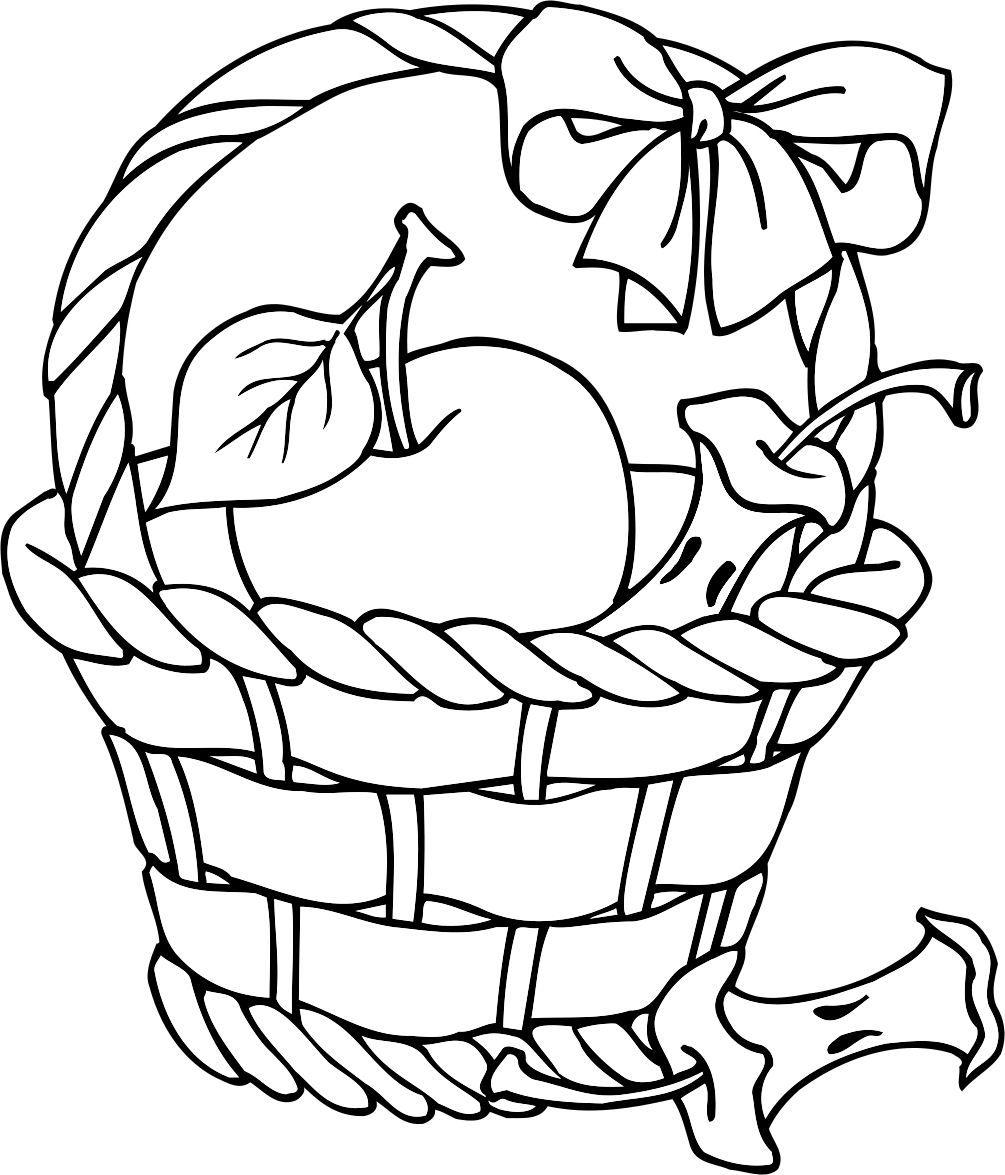Apple basket clipart coloring page svg freeuse stock apple basket | Delores Coloring Pages | Apple coloring pages ... svg freeuse stock