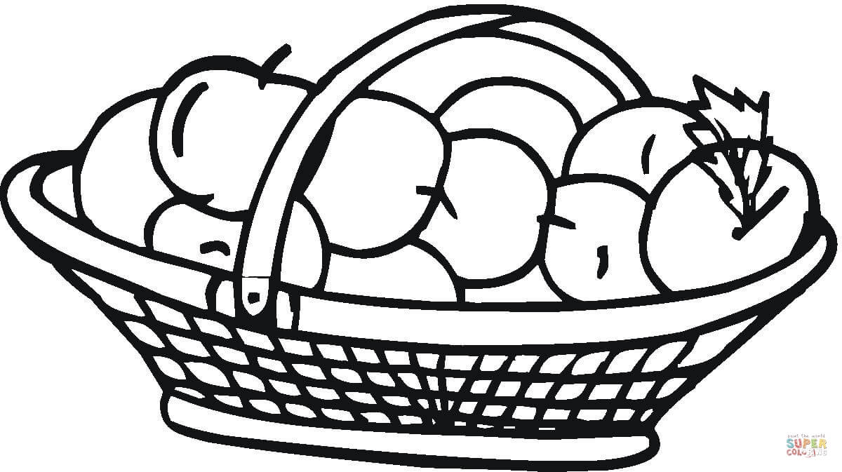 Apple basket clipart coloring page image royalty free Apple Basket coloring page | Free Printable Coloring Pages image royalty free