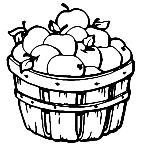 Apple basket clipart coloring page clip art transparent download Autumn coloring pages to keep the kids busy on a rainy fall day ... clip art transparent download