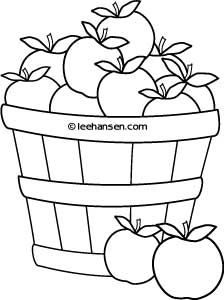 Apple ina bowl clipart black and white svg freeuse stock Basket of Apples Farm Stand Coloring Sheet, free printable for ... svg freeuse stock