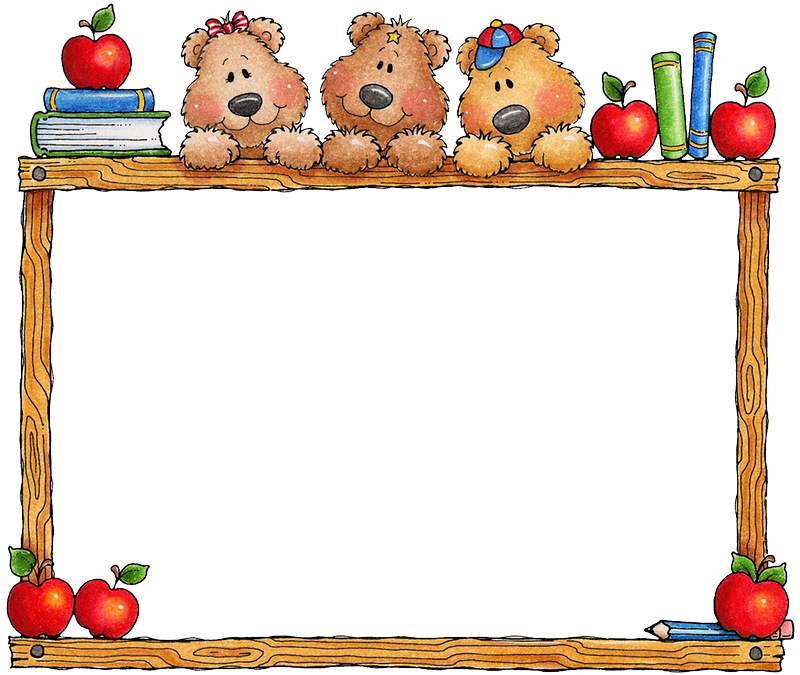 Apple border school clipart clip art black and white library School Education Picture frame Clip art - Apple border cartoon bear ... clip art black and white library