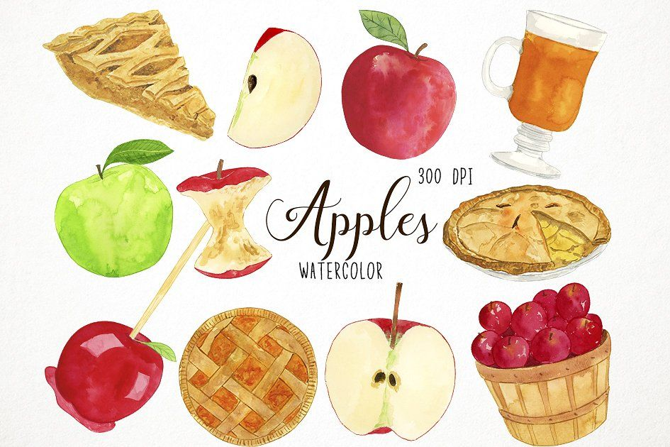 Apple clipart cards free transparent download Watercolor Apples Clipart #cider#apple#Includes#apples | Icons ... transparent download