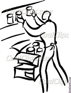 Apple clipart clerk image royalty free download clerk stocking shelves Vector Clip art image royalty free download