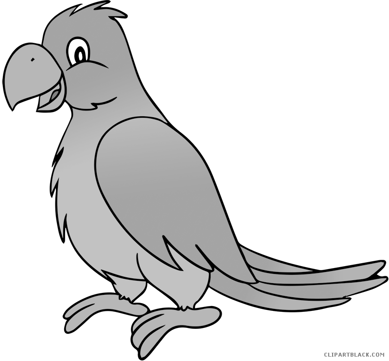 Apple clipart greyscale banner transparent Grayscale Parrot Animal free black white clipart images clipartblack ... banner transparent