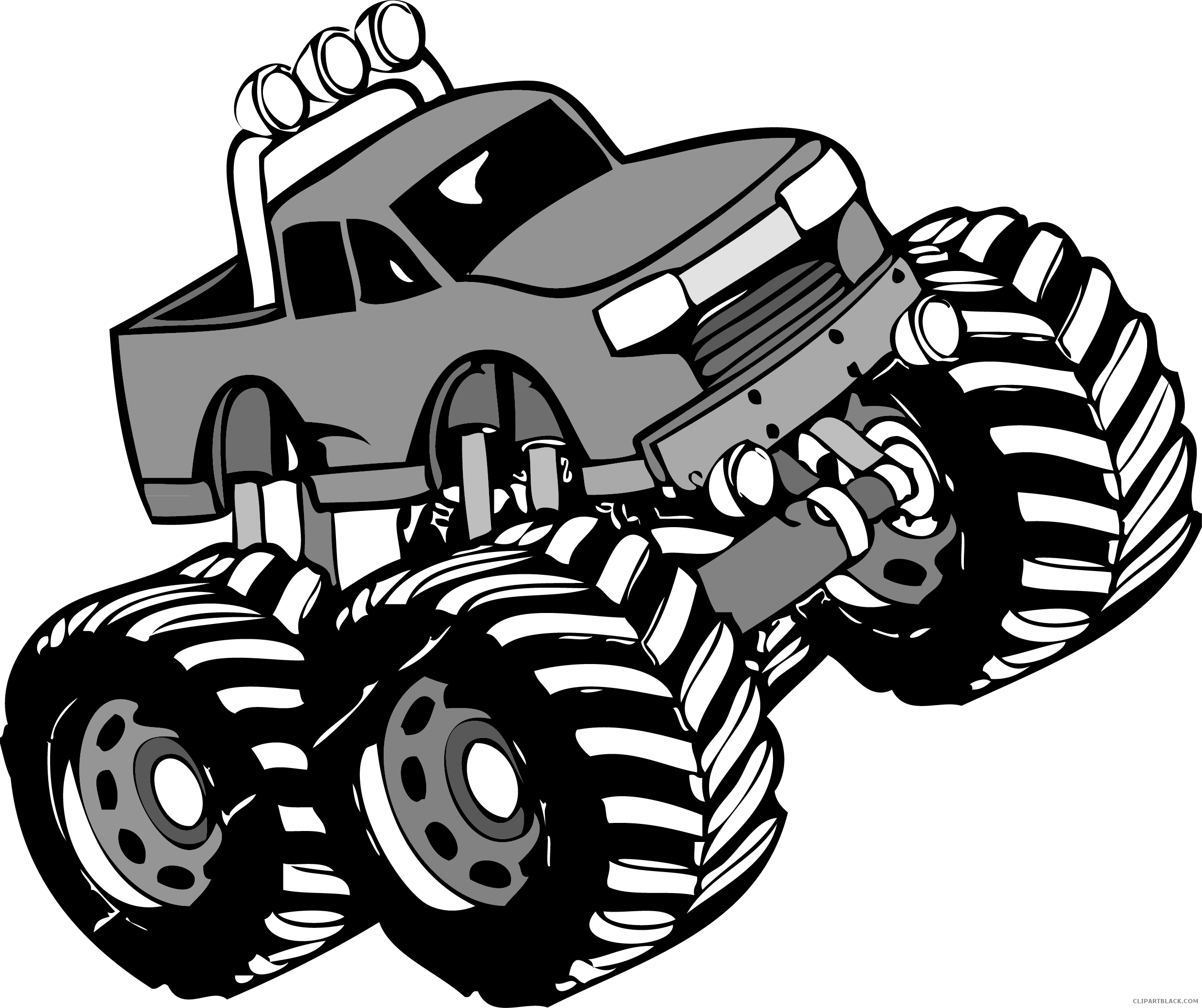 Apple clipart greyscale jpg black and white download Monster Truck Transportation free black white clipart images ... jpg black and white download