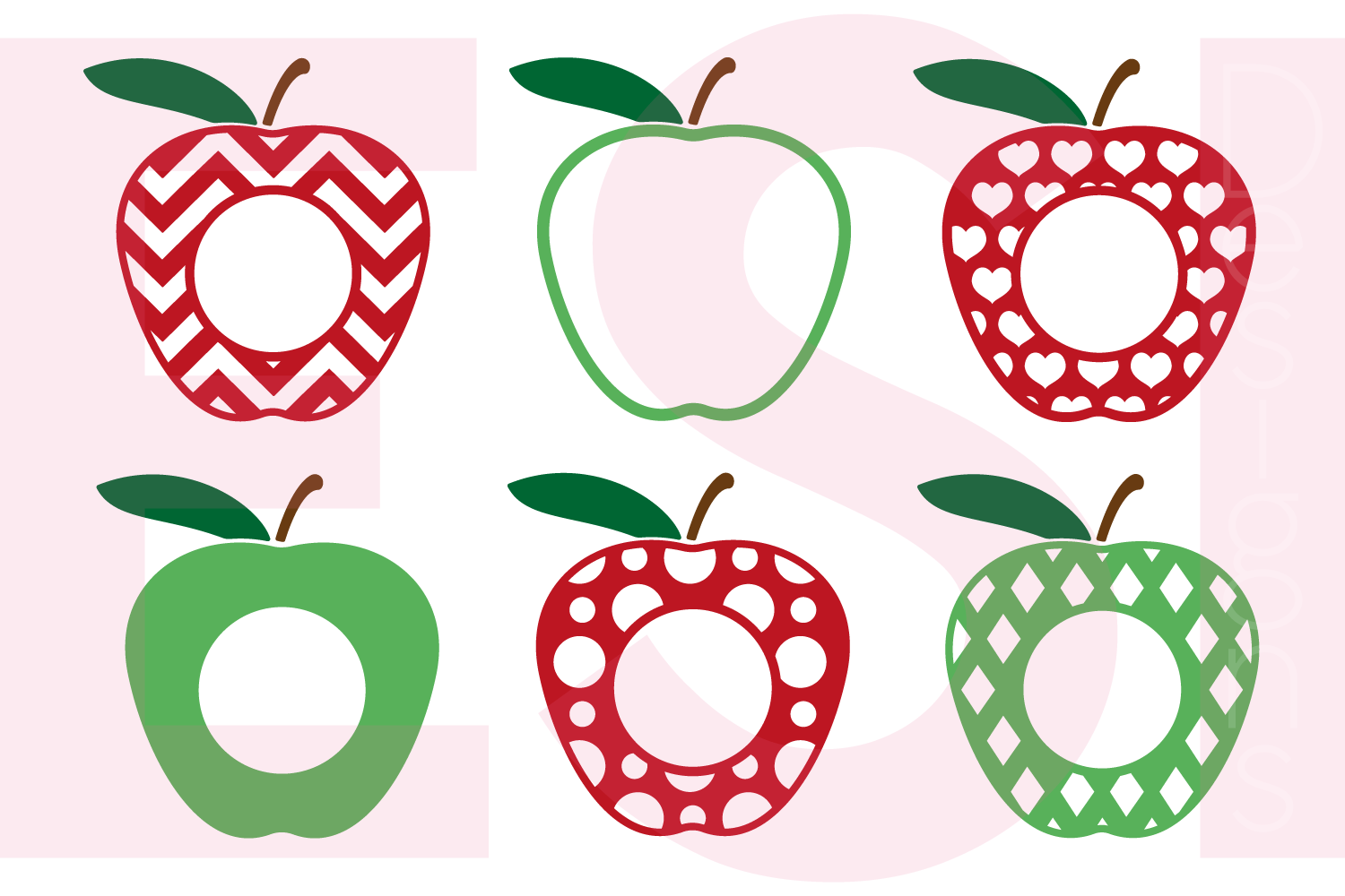 Split apple clipart monogram picture free Apple Monogram Designs - Set 2 by ESI D | Design Bundles picture free