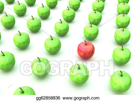 Apple clipart rows graphic download Drawing - Green apples arrayed in a rows, with one red apple ... graphic download
