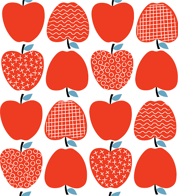 Apple clipart rows jpg royalty free stock A row of apples in different scrapbook papers for Fall. The stems ... jpg royalty free stock