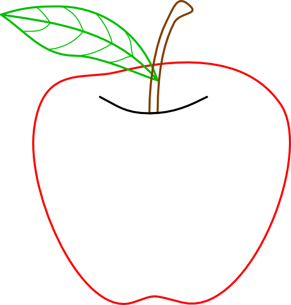 Apple stem and leaf clipart png transparent stock Colored Apple Outline Clip Art at Clker.com - vector clip art online ... png transparent stock