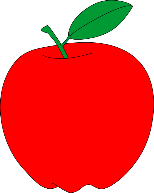 Apple clipart without leaf svg black and white HD Red Apple With Green Leaf Free Vector Clipart - Printable Red ... svg black and white