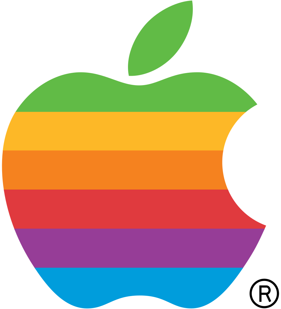 Apple computer clipart picture black and white stock Rainbow apple Logos picture black and white stock