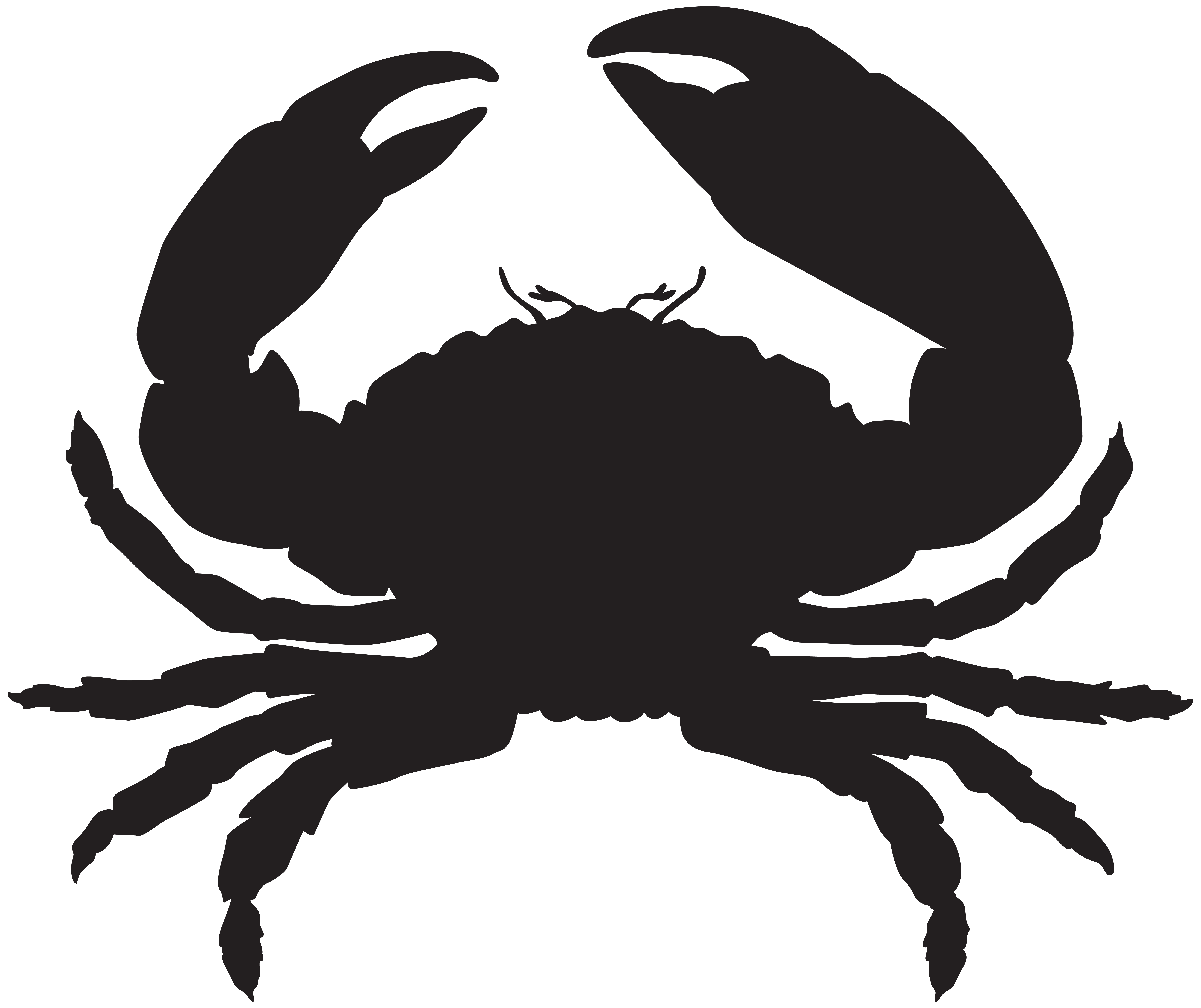 Apple crab clipart black and white png transparent library Crab Silhouette PNG Clip Art Image Gallery Yopriceville High And | o ... png transparent library