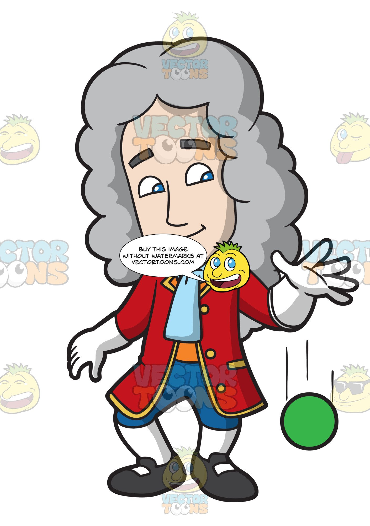 Sir isaac newton clipart black and white stock Isaac Newton Dropping A Ball black and white stock