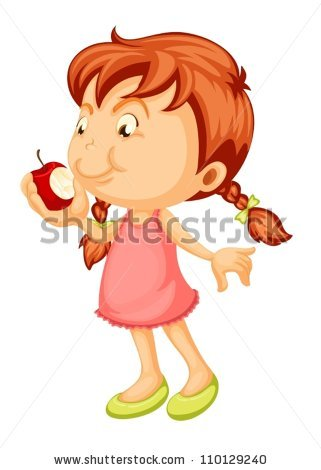 Apple eating apple clipart. Stock images royalty free