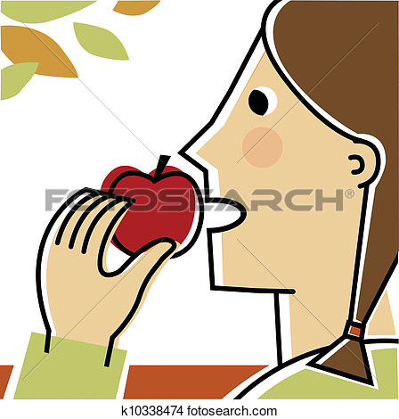 An clipartfest drawing girl. Apple eating apple clipart