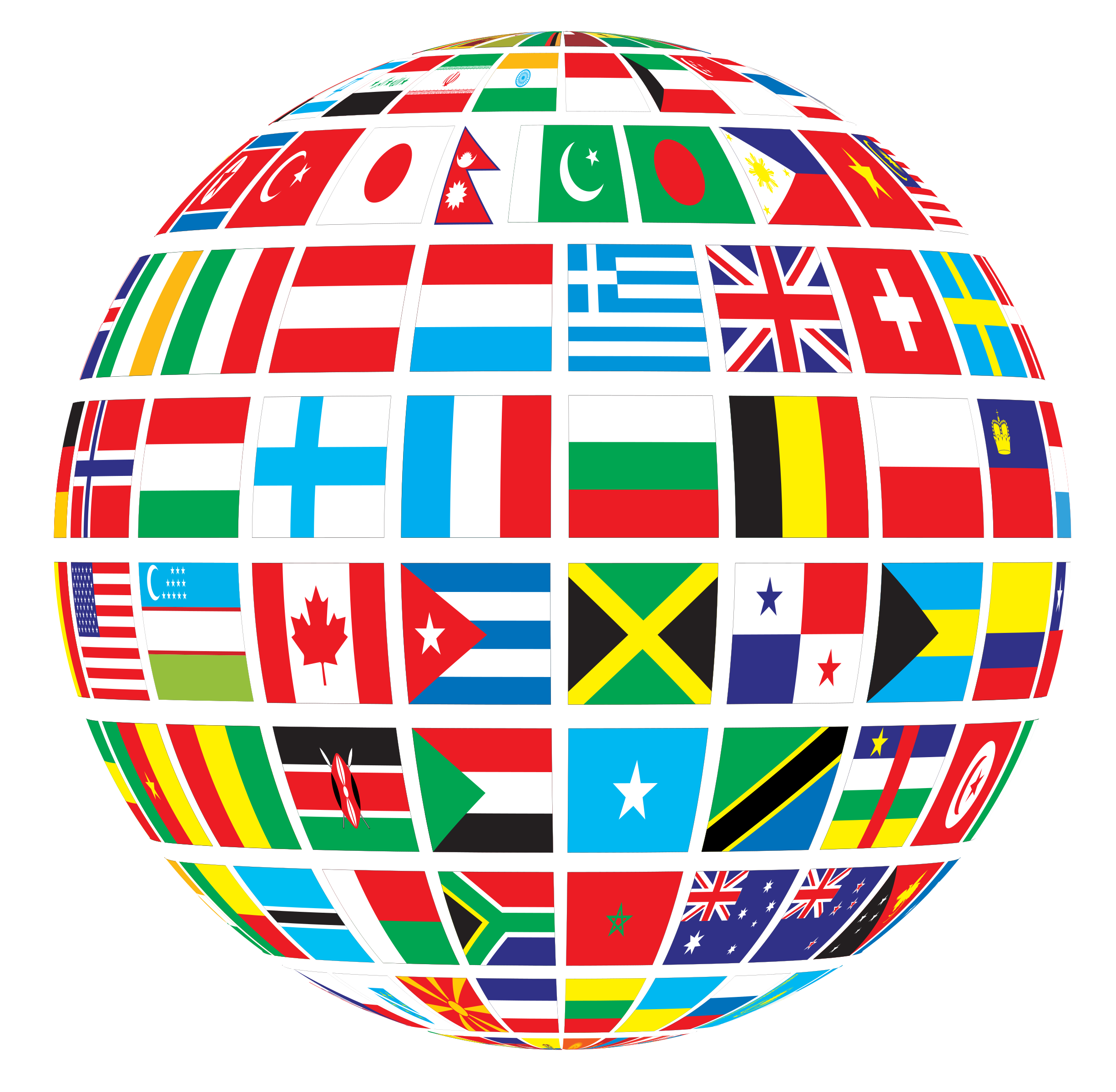 Apple globe world map clipart graphic black and white library World Flags Globe by @GDJ, Flags of the world mapped onto a globe ... graphic black and white library