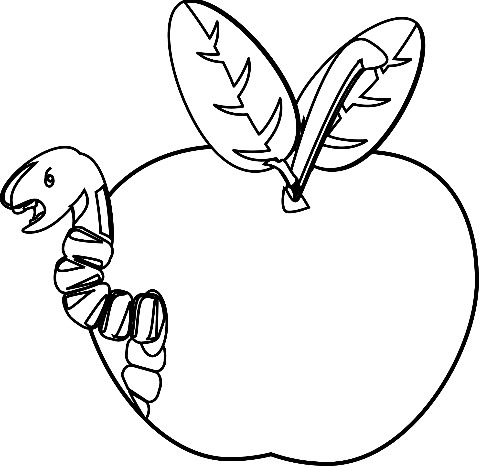 Apple in a worm black and white clipart banner library library Clip Art: worm 1 black white | Clipart Panda - Free Clipart Images banner library library
