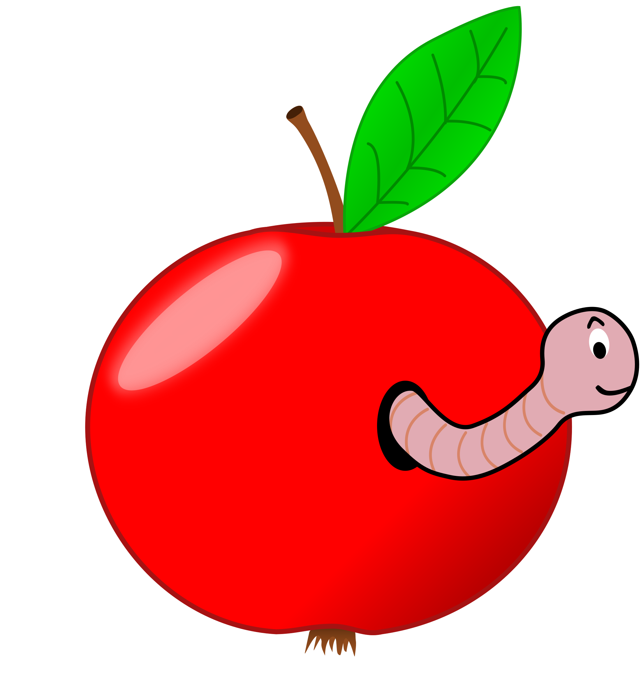 Apple in a worm clipart clipart free Clipart - Red Apple with a Worm clipart free