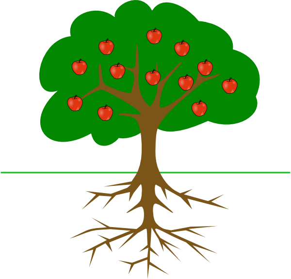 Apple tree with three apples clipart clip art free library Apple Tree With Roots Clip Art at Clker.com - vector clip art online ... clip art free library