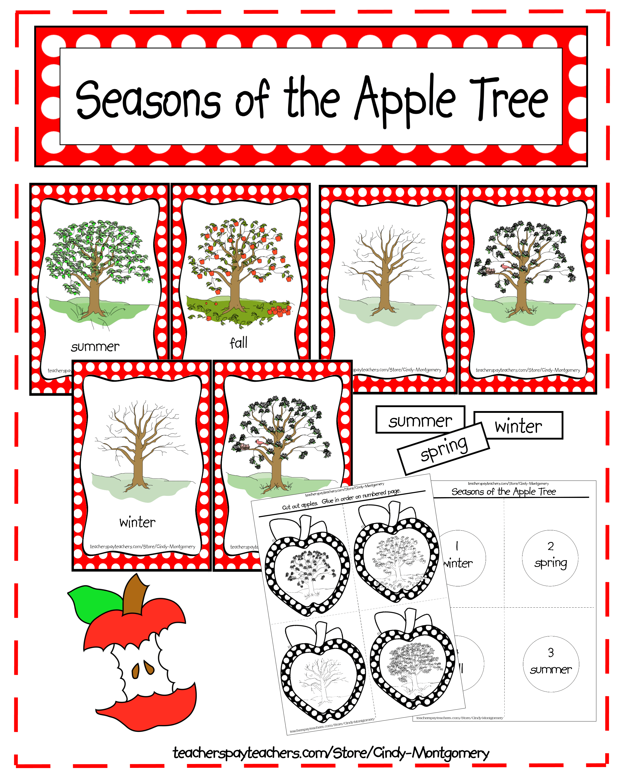 Apple life cycle clipart vector black and white library Seasons of the Apple Tree Printables and Activities | Every Day Is ... vector black and white library